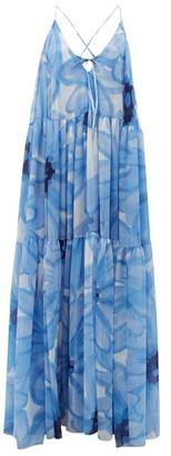 Jacquemus Mistral Floral-print Chiffon Banded Maxi Dress - Blue