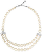 Majorica Sterling Silver Imitation Pearl Double Row Collar Necklace