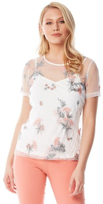 M&Co Roman Originals floral mesh embroidered top