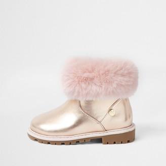River Island Mini girls Pink faux fur trim boots