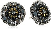 Miguel Ases Swarovski and Grey Miyuki Stud Earrings