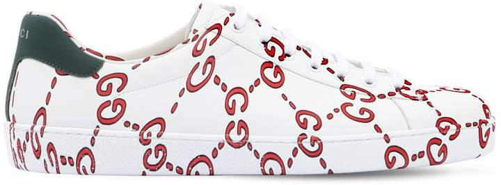 Gucci New Ace Printed Leather Sneakers