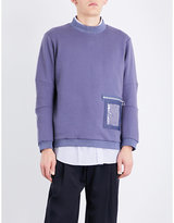 Oamc Window-detailed cotton-jersey sweatshirt
