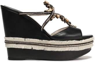 Rene Caovilla Rene' Caovilla Embellished Leather Wedge Mules