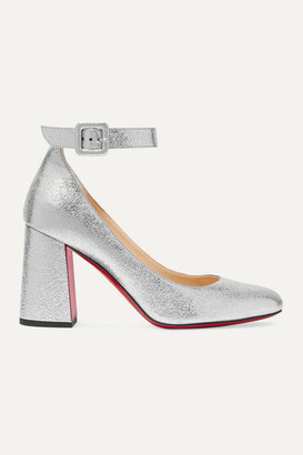 Christian Louboutin Soval 85 Metallic Textured-leather Pumps - Silver