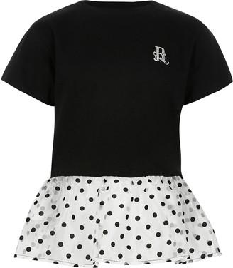 River Island Girls Black organza polka dot peplum T-shirt