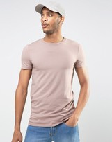 Asos Longline Muscle T-Shirt With Crew Neck In Pink