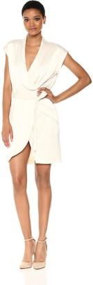 Halston Women's Cap Sleeve Satin Shirtdress