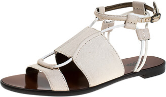 Lanvin Ivory Leather And Elastic Cord Ankle Strap Flat Sandals Size 36
