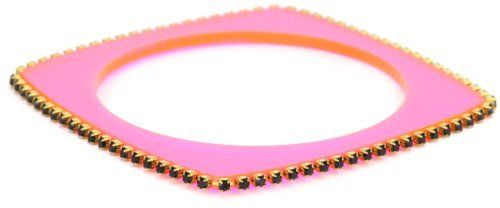 "Sandy Hyun ""Deco Lucite"" Neon Pink Lucite Crystal Edge with Skinny Bangle Bracelet"