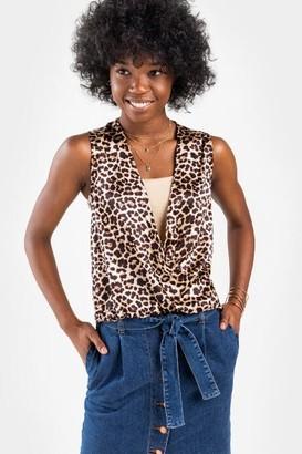 francesca's Hailee Leopard Surplice Blouse - Brown