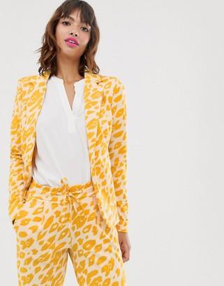 Ichi leopard print suit blazer-Multi
