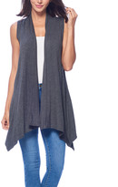 Brooke & Emma Women's Sweater Vests CHARCOAL - Charcoal Drape-Front Open Vest - Women & Plus