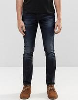 Nudie Jeans Nudie Long John Skinny Jeans Blue On Grey Dark