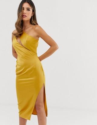 Asos Design DESIGN midi dress in satin with spliced bodice-Gold