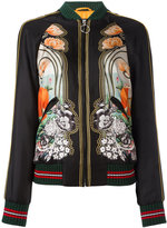 Gucci elephant and waterlily print bomber jacket - women - Silk/Cotton/Polyamide/Spandex/Elastane - 40
