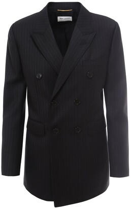 Saint Laurent Pinstripe Double-Breasted Blazer