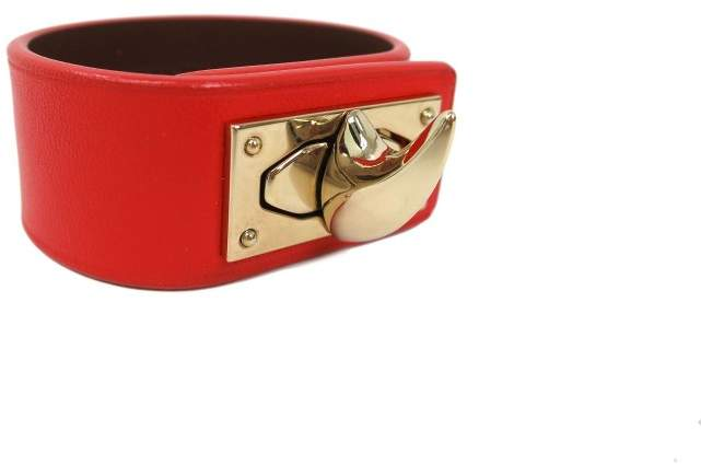 Givenchy Gold Tone Metal Red Leather Bracelet