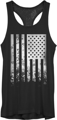 Juniors' Faded Camouflage American Flag Tank Top