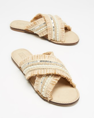Therapy Women's Neutrals Flat Sandals - Allium - Size 6 at The Iconic