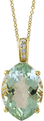 Effy Fine Jewelry 14K 4.89 Ct. Tw. Diamond & Green Amethyst Pendant Necklace