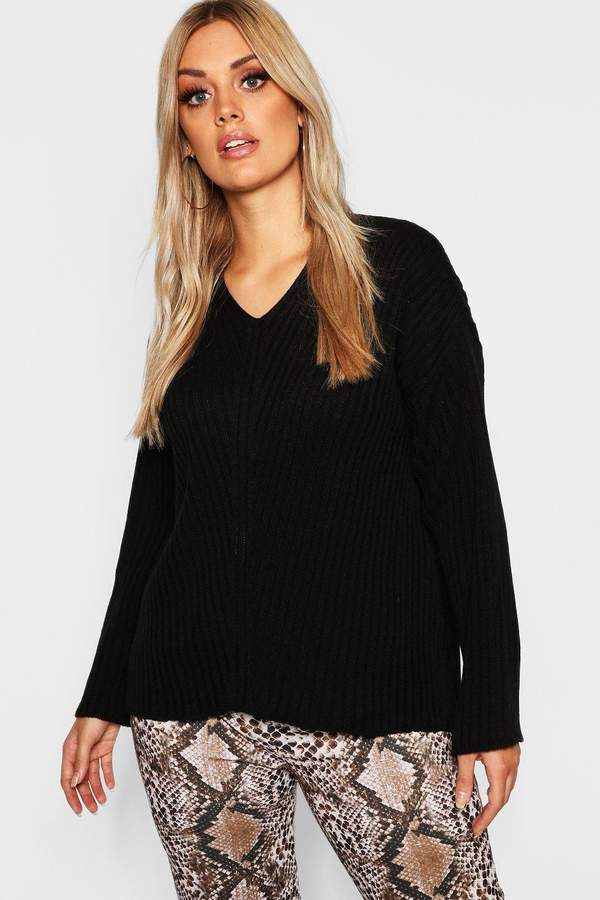 boohoo Plus Slouchy V Neck Sweater