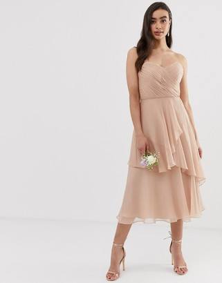 Asos Design DESIGN Bridesmaid bandeau midi dress with soft layered skirt-Pink