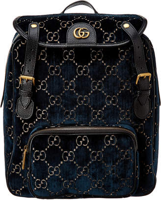 Gucci Small Gg Velvet & Leather Backpack