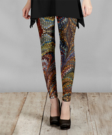 Lily Brown & Gold Abstract Slim-Fit Pants - Plus Too