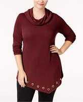 Belldini Plus Size Asymmetrical Cowl-Neck Top