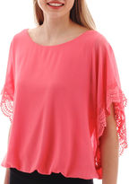 JCPenney BY AND BY by&by Flutter-Sleeve Bubble-Hem Top