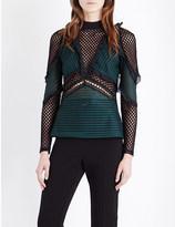 Self-Portrait Forest mesh blouse