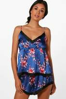 boohoo Shelley Navy Floral Cami And Short Set navy
