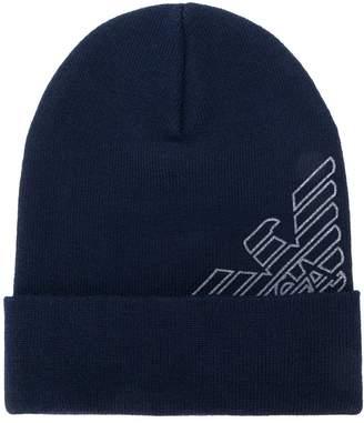 Emporio Armani logo beanie hat