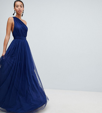 Asos Tall DESIGN Tall tulle one shoulder maxi dress-Navy