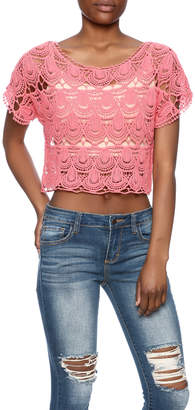 C Mode Coral Crocheted Crop Top