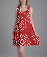 Aster Red & White Floral Shift Dress - Plus Too