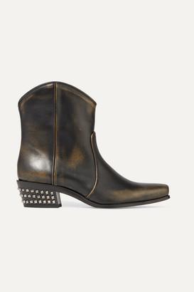 Miu Miu Distressed Studded Leather Ankle Boots - Black