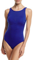 Jets Parallels Ribbed Mesh High-Neck One-Piece Swimsuit, Available in DD-E Cup