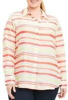 Foxcroft Plus Addison Stripe Button-Down Blouse