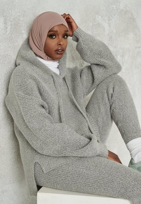 Missguided Grey Co Ord Oversized Hooded Knit Jumper