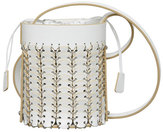 Paco Rabanne Grometted Leather Bucket Mini Bag, White