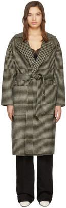 Nanushka Brown Wool Houndstooth Alamo Belted Coat