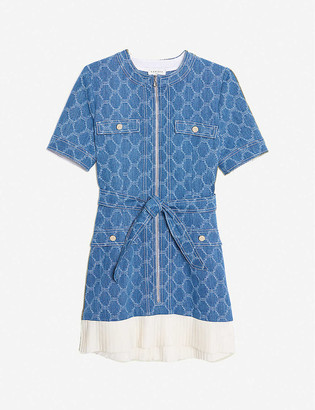 Sandro Kayle jacquard-print denim and crepe mini dress
