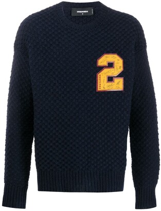 DSQUARED2 Chunky Knit Number Patch Jumper