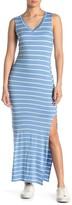 Velvet Torch Striped V-Neck Sleeveless Jersey Maxi Dress