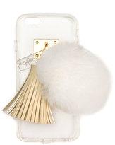 ashlyn'd Transparent iPhone 6 Case w/ Fur Pompom, Ivory