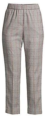 Peserico Women's Plaid Cropped Pull-On Pants
