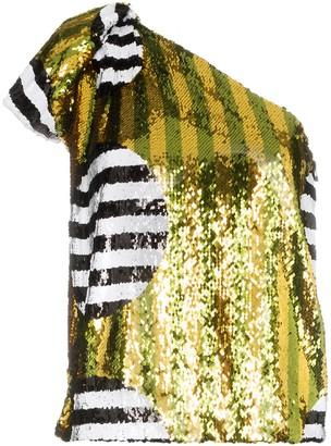 Halpern One-Shoulder Sequin-Embellished Top