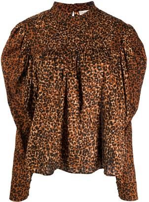Ulla Johnson Smocked Leopard-Print Blouse